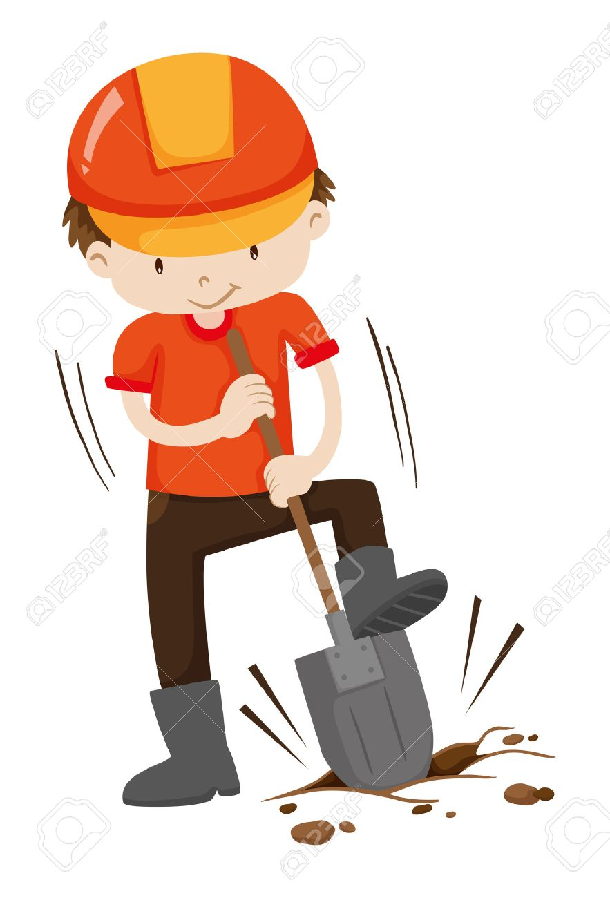 Man digging hole on the ground illustration.