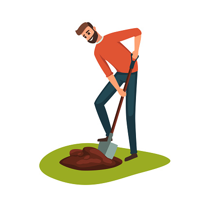 Man Digging Hole On The Ground Stock Illustration.