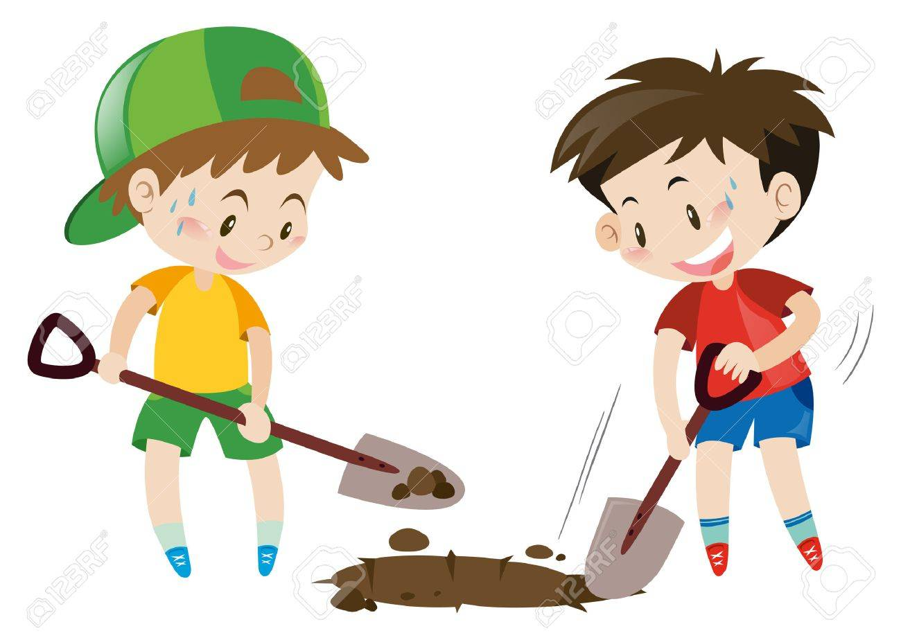 Two boys digging hole with shovels illustration.