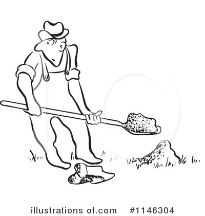Man Digging Clipart Black White.