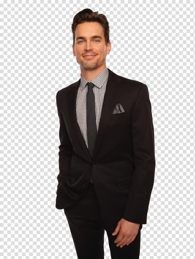 Matt Bomer man wearing black dress suit transparent.
