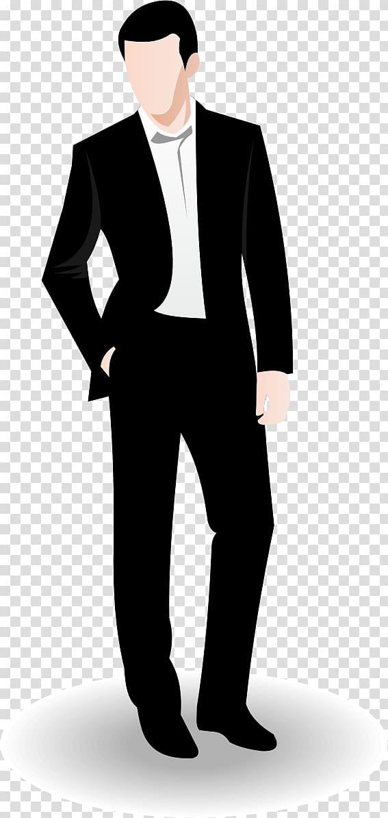 Illustration of man wearing black formal suit.