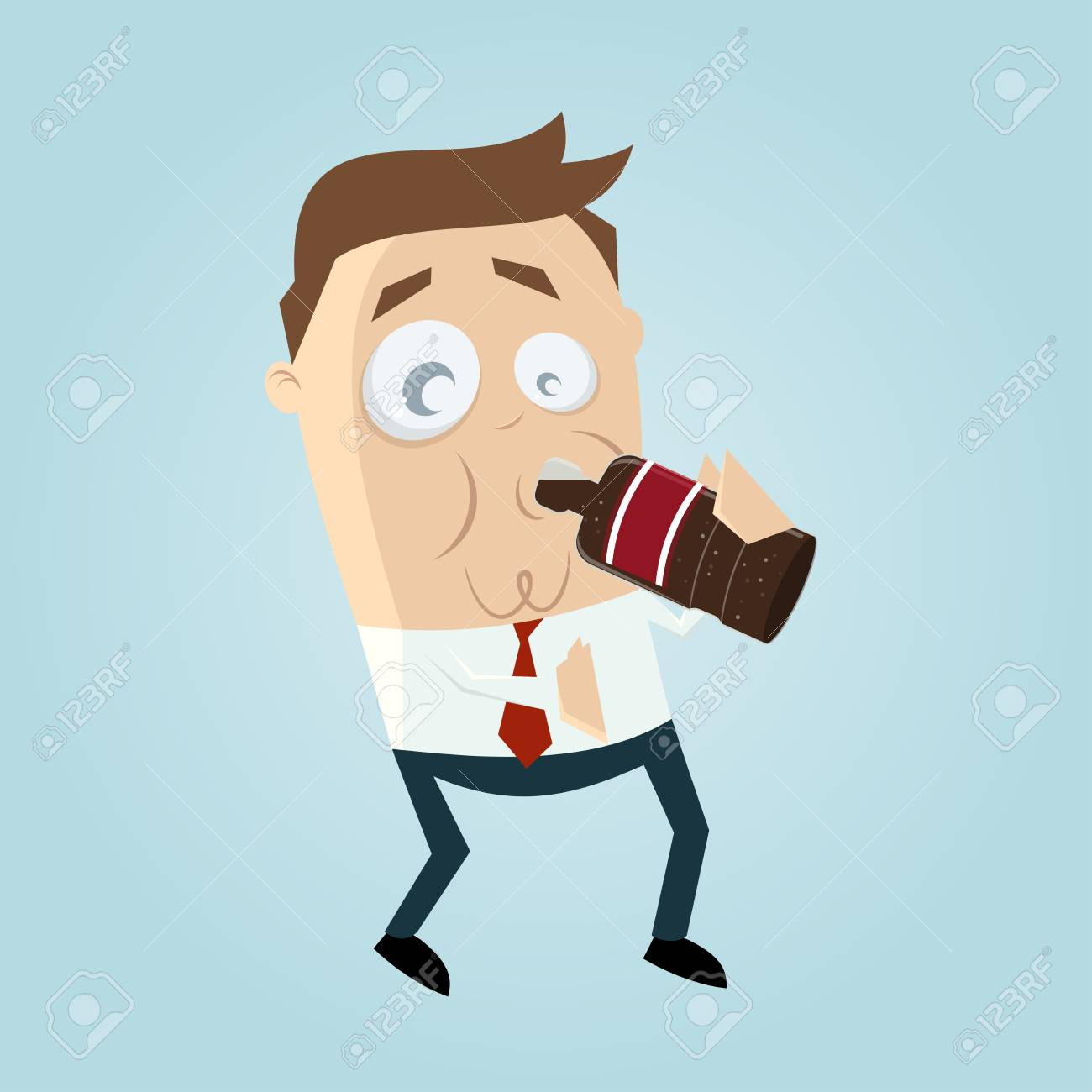 clipart of a man drinking cola.
