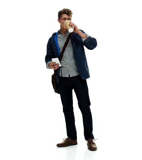 Man drinking coffee stock photo.