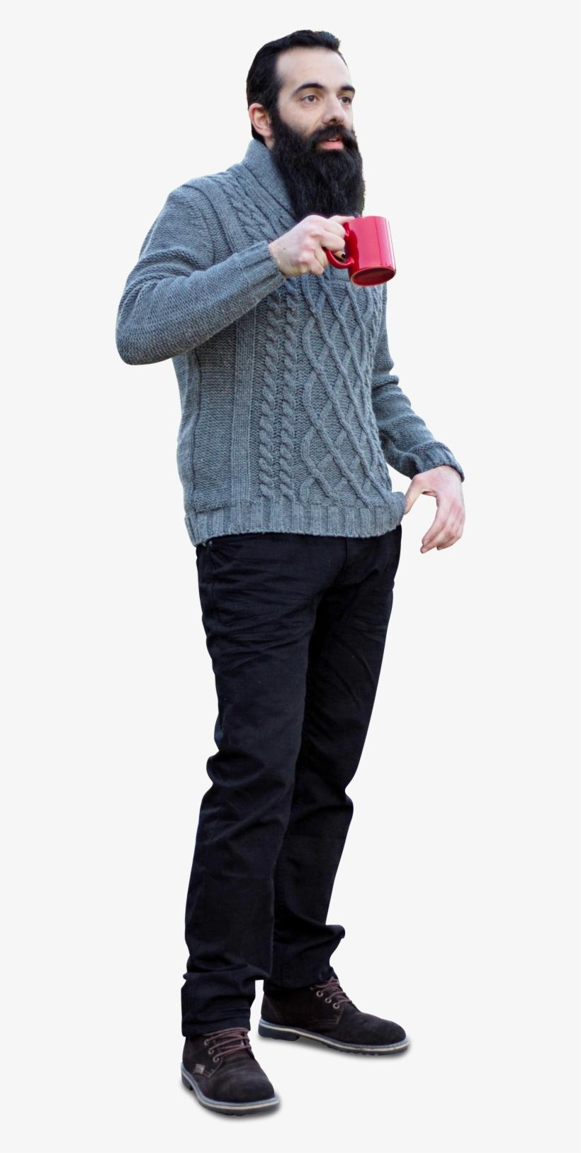 Bearded Man In Sweater Drinking Cofee.