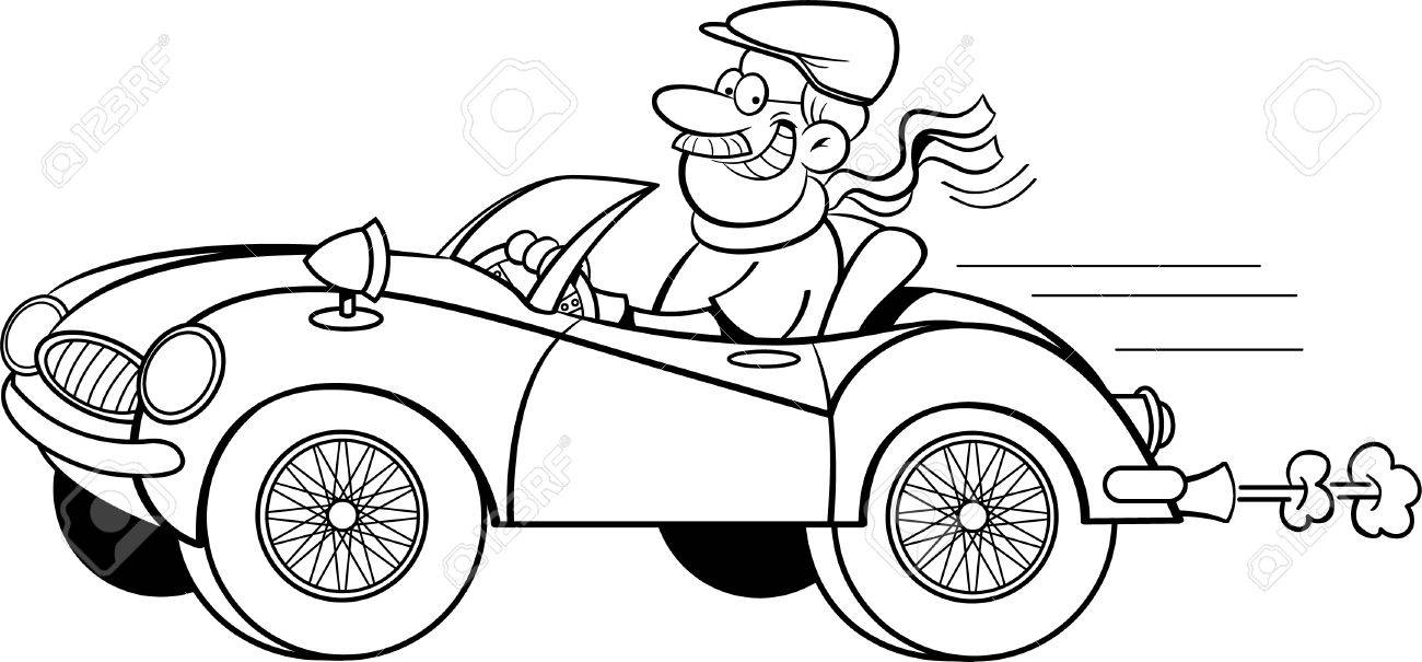 Black and white illustration of a man driving a sports car..