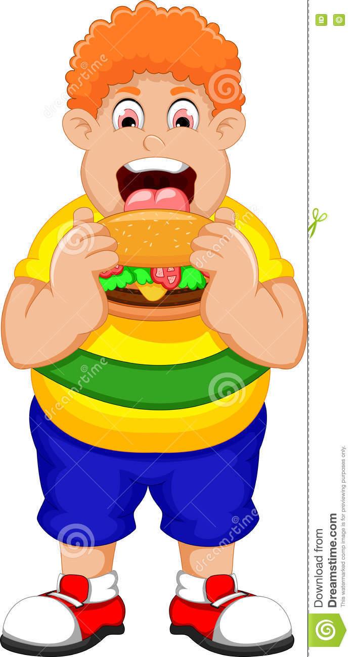 Showing post & media for Cartoon fat man eating burger.