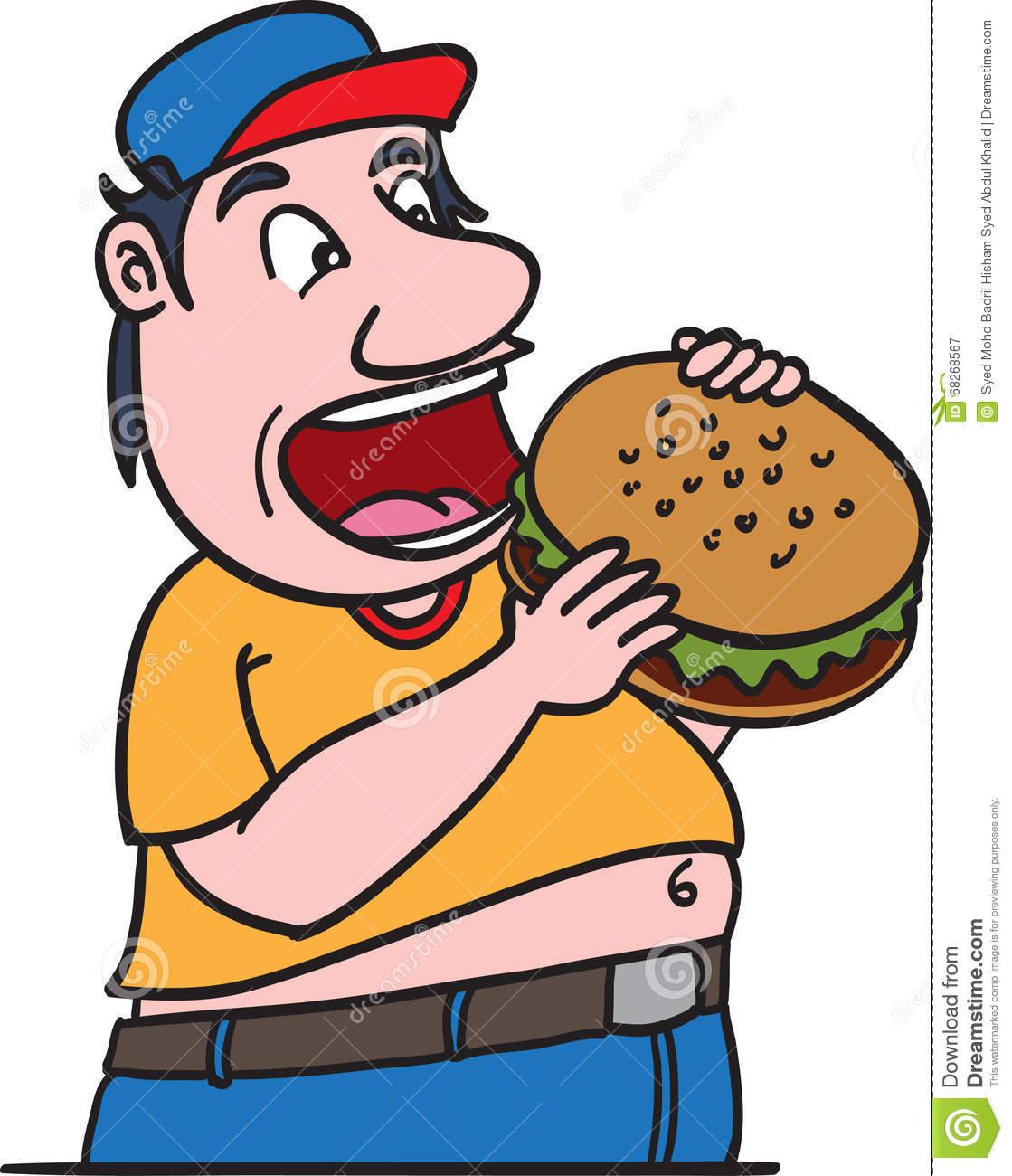 Fat Man Eating Burger Stock Vector.