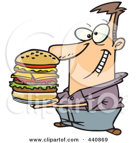 Man Eating Burger Clipart.