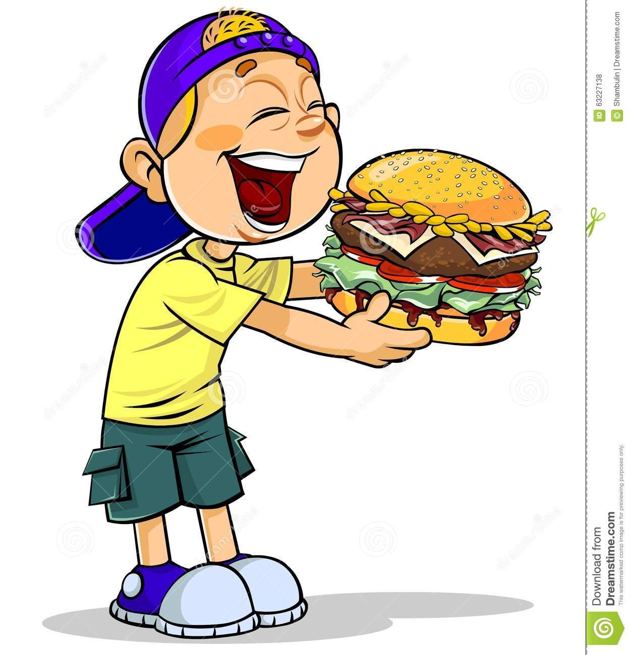 Boy Eating Burger Clipart.