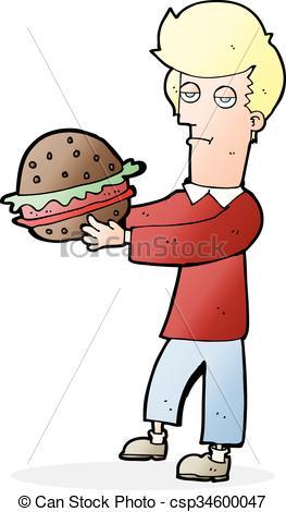 EPS Vector of cartoon man eating burger csp34600047.