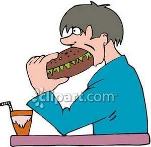 Man Eating a Huge Sandwich.