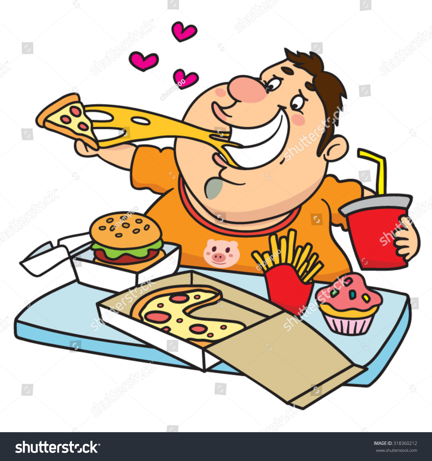 Fat Man Eating a Tray Full of Fast Food… Stock Photo.