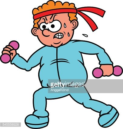 Fat Man Exercising Cartoon Illustration Clipart Image.