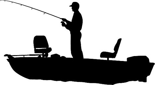 Guy In Boat Fishing Clipart Silhouette.