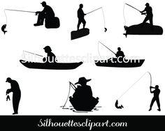 Man Fishing Silhouette vector graphics.