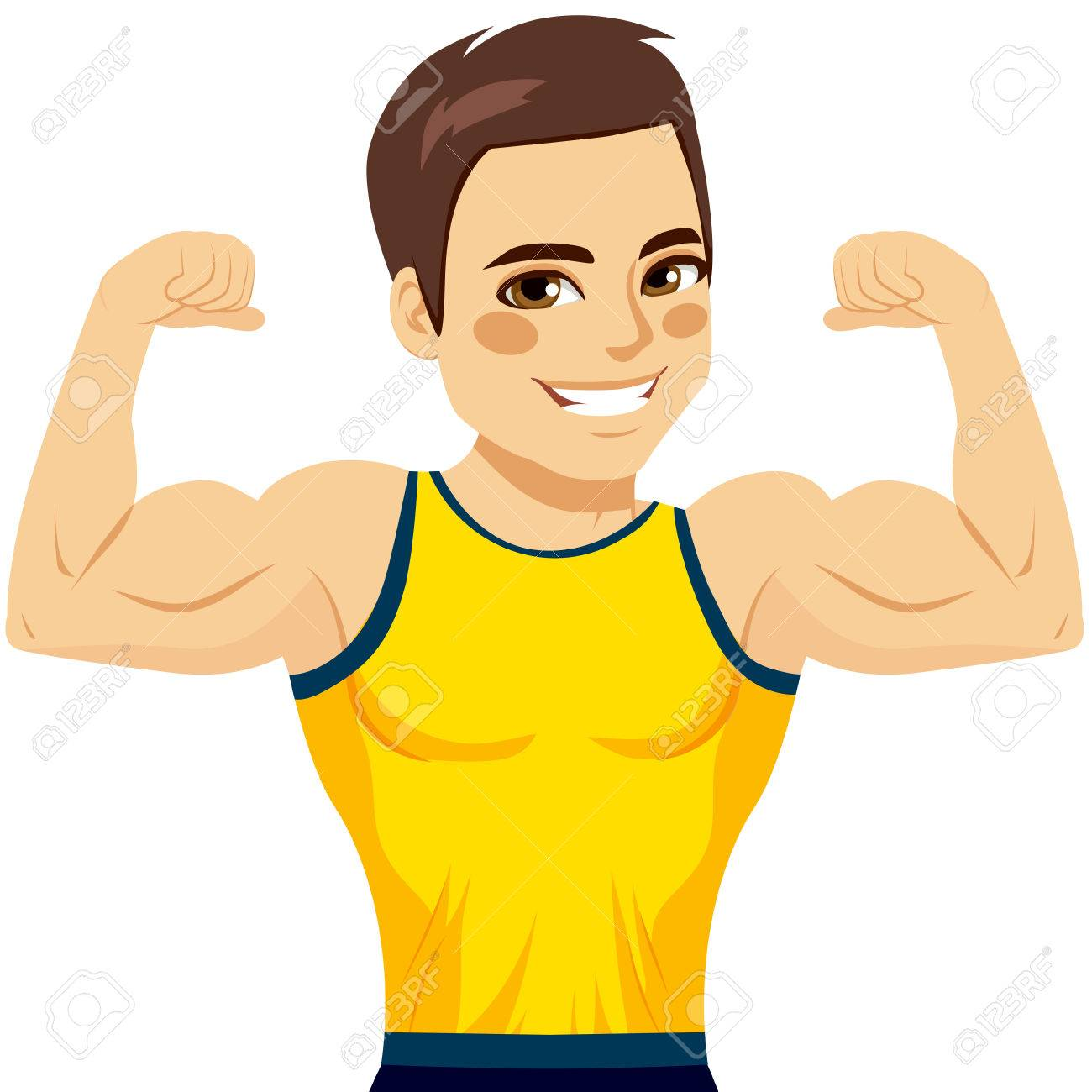 Attractive young muscular man flexing biceps and smiling happy.