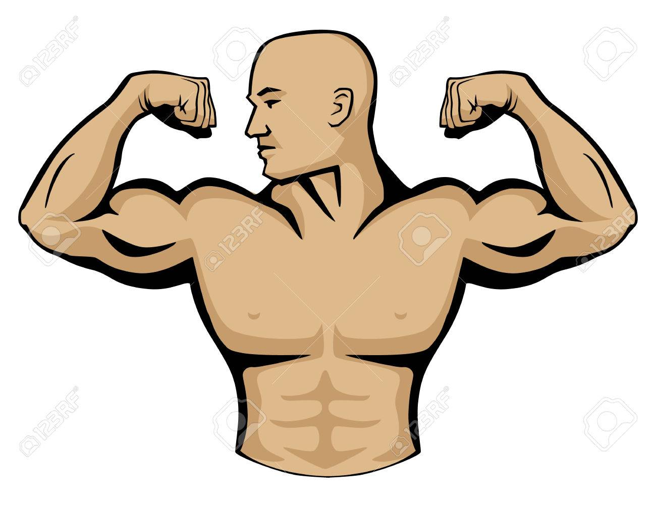Male body builder vector graphic illustration, flexing arm muscles,...