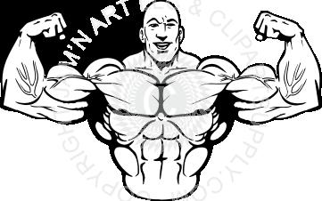 Man flexing muscles front.