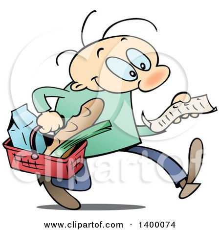 Clipart of a Cartoon Caucasian Man Grocery Shopping for Superbowl.