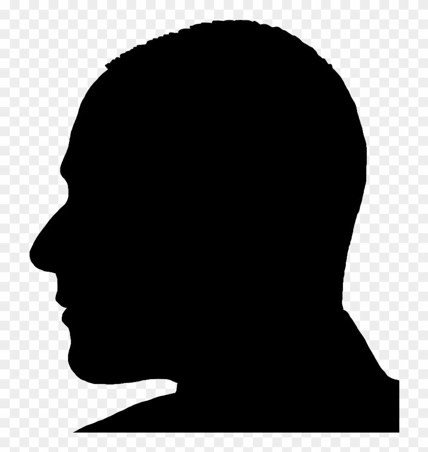 Silhouette Man Head In Profile.