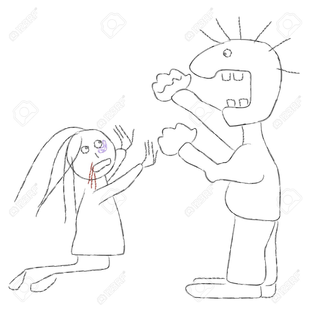 Man Hitting Woman Clipart.