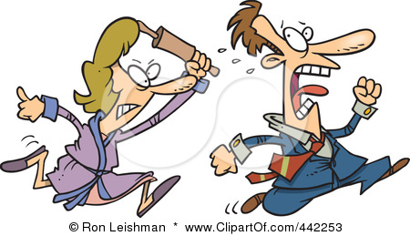 Showing post & media for Woman hitting man cartoon.