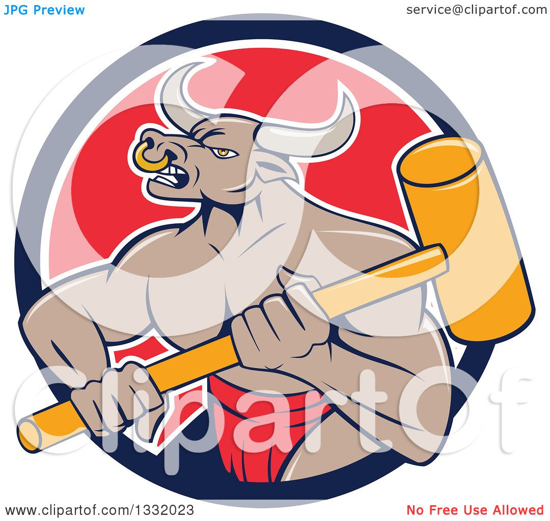 Clipart of a Cartoon Tan Bull Man or Minotaur Holding a.
