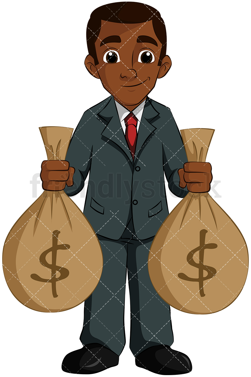 Download Free png Black Man Holding Money Bags Vector.