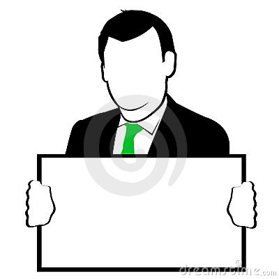 Man Holding Blank Sign Clipart.