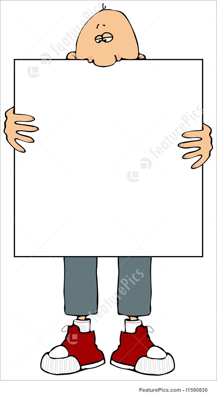 Man Holding A Sign Stock Illustration I1590830 at FeaturePics.