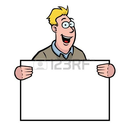 3,394 Man Holding A Blank Sign Cliparts, Stock Vector And Royalty.