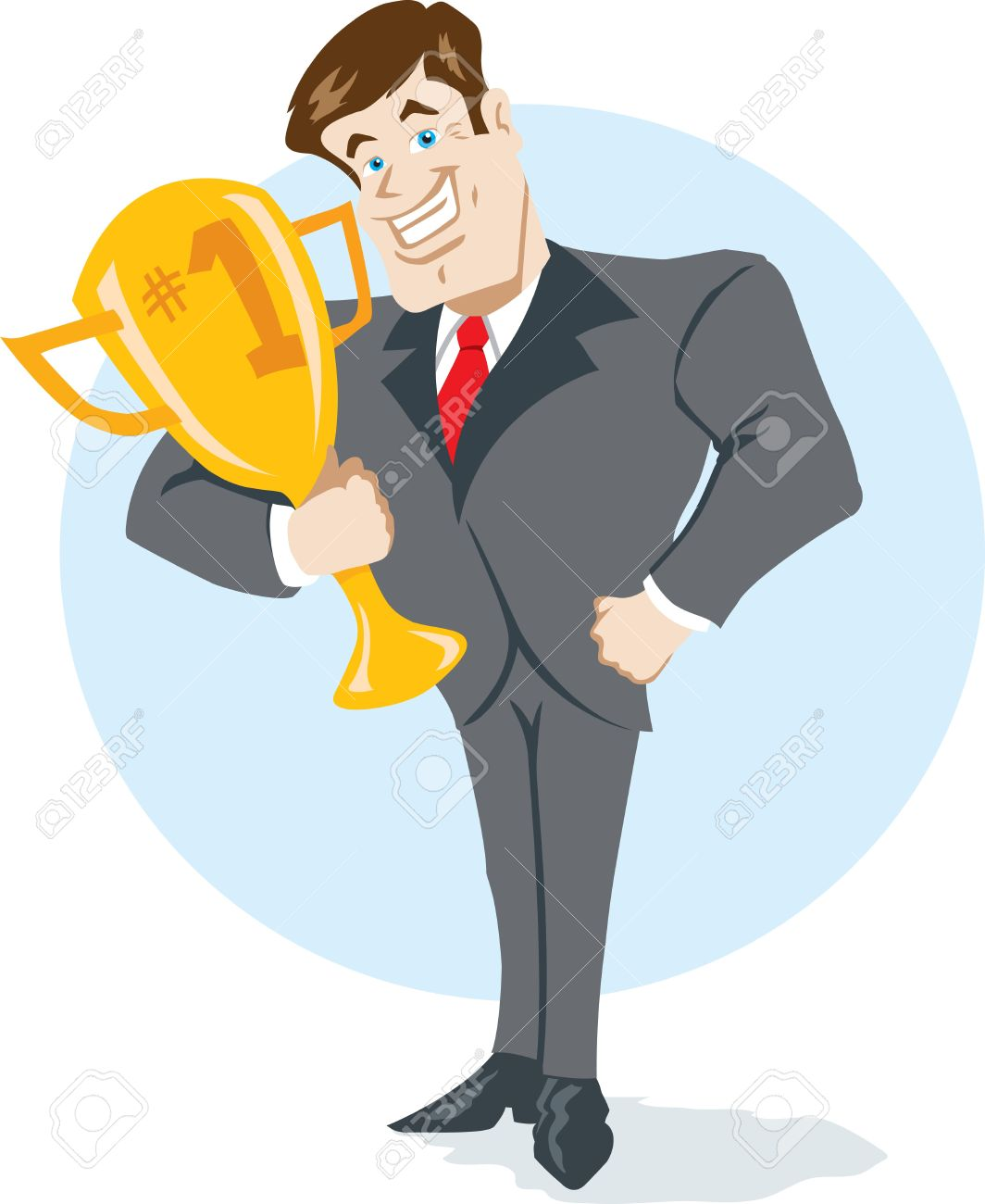 Showing post & media for Cartoon man holding trophy.