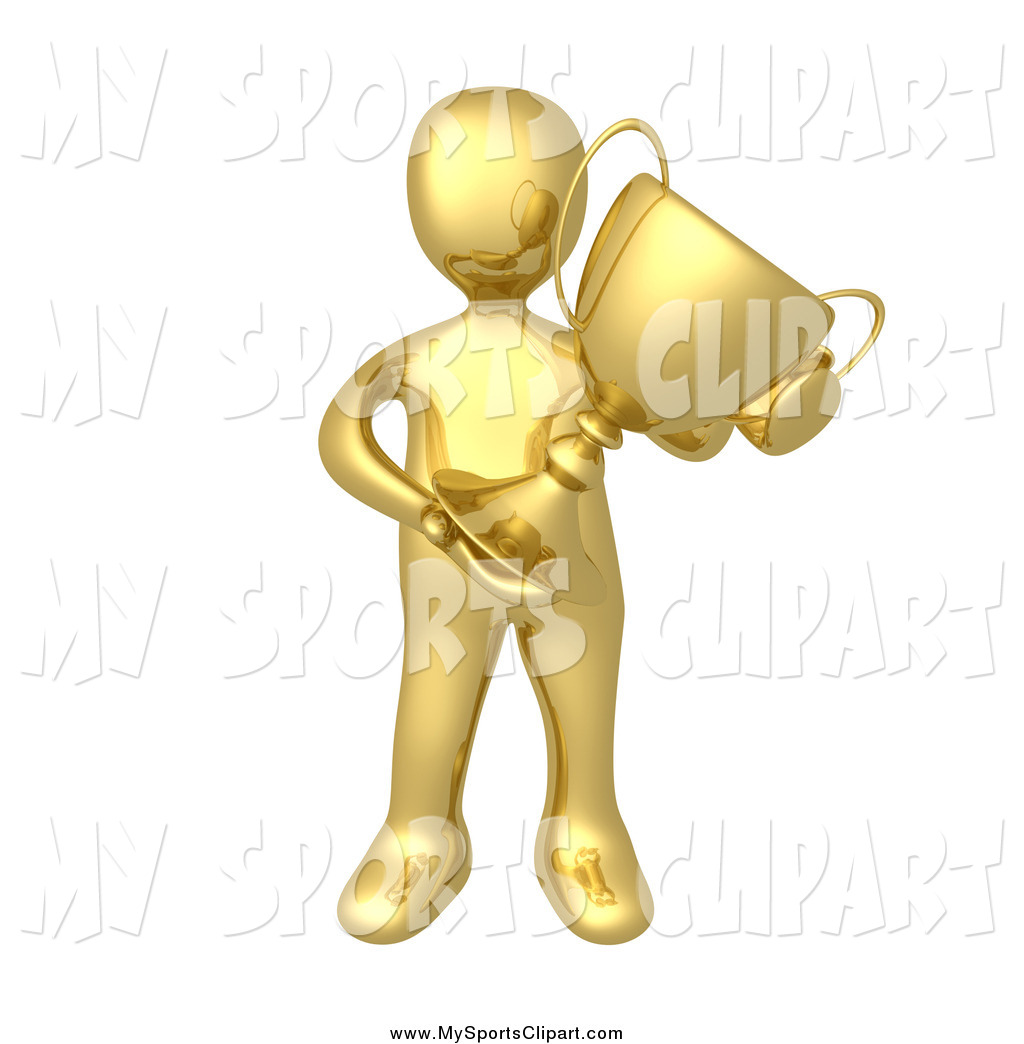 Sports Clip Art of a 3d Gold Man Holding a Trophy by 3poD.