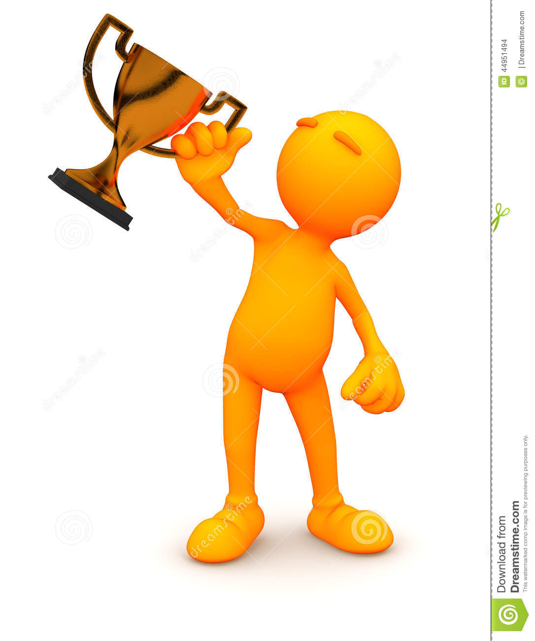 3d Guy: Man Holding Bronze Trophy Stock Illustration.