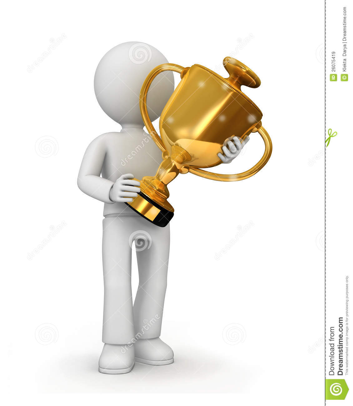 Man Holding Trophy Clipart.