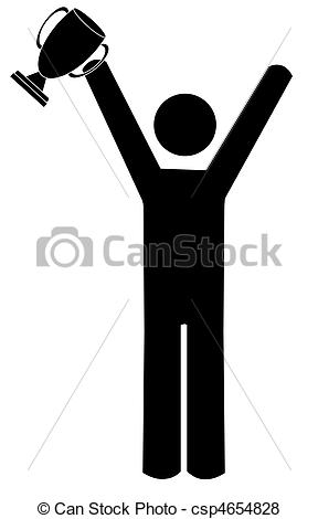 Clipart of Illustrated man holding trophy.