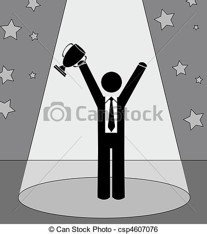 Stock Illustration of business man holding up trophy.