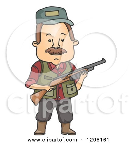Clipart of a Man Hunting in the Winter.