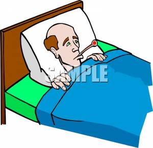 Clipart Image: A Man In Bed with a Thermometer.