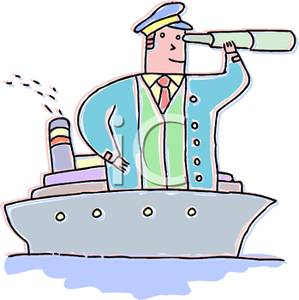 Man In a Boat Looking In a Spyglass Clipart Image.