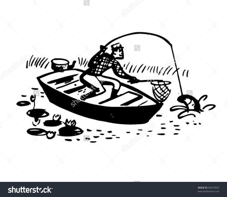 Man Boat Catching Fish Retro Clipart Stock Vector 65019553.