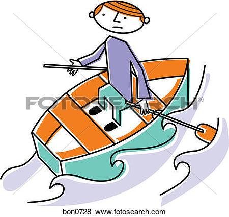 Stock Illustration of Man rowing boat bon0728.