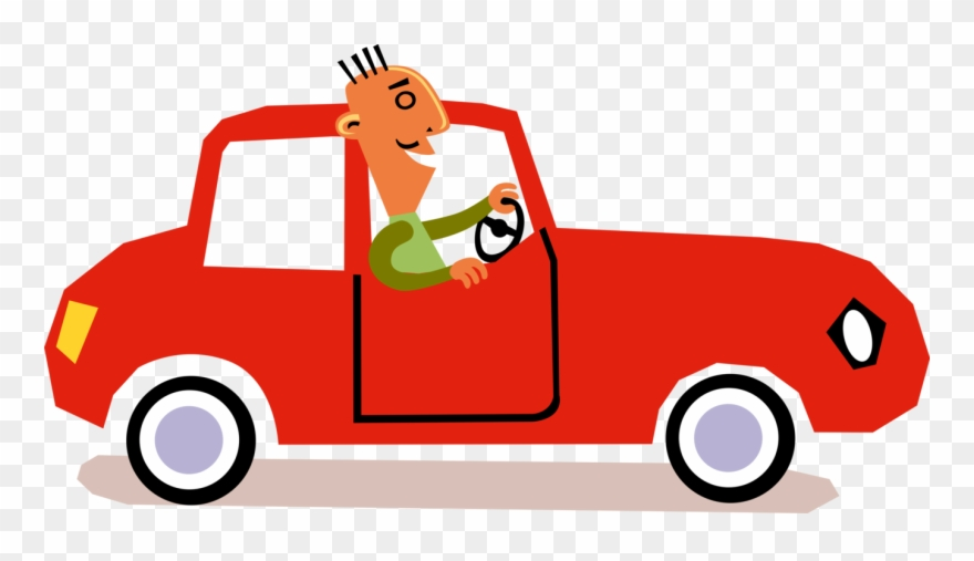 Vector Illustration Of Man Drives Automobile Car Motor.
