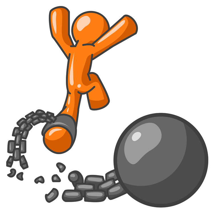 Orange Man Jumping For Joy While Breaking Away From a Ball.