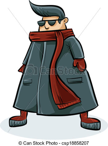 Vector Clipart of Large Coat and Scarf.