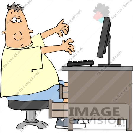 Caucasian Man in Front of a Smoking Computer Clipart.