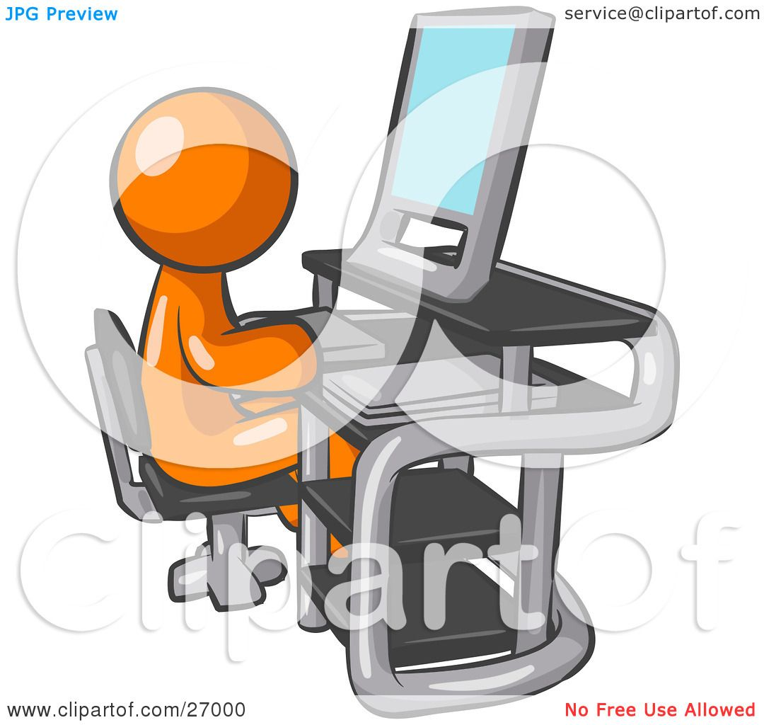 Clipart Illustration of an Orange Man Sitting At A Desk In Front.