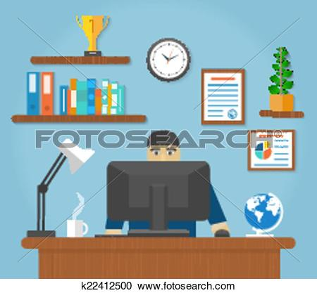 Clipart of Man sitting on chair at table front of computer monitor.