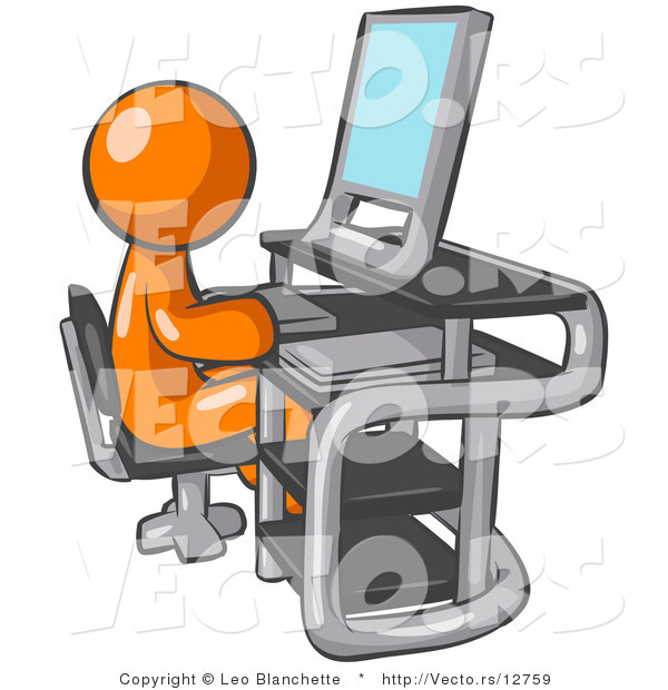 Vector of Orange Guy Sitting at a Desk in Front of a Computer with.